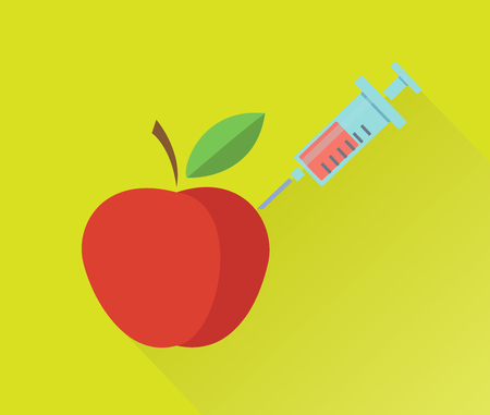 modification: Genetic modification of apple concept. Vector illustration