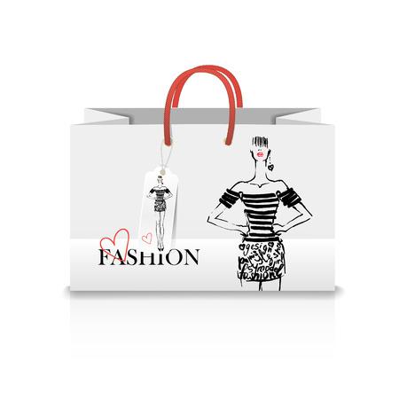 Shopping Bag on white background with a print - Fashion illustration Vektorové ilustrace
