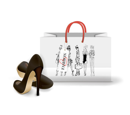 fashion: Shopping Bag on white background with a print - Fashion illustration Illustration