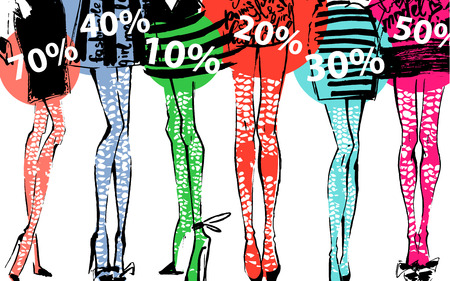 discount banner: Discount Banner with girls legs. Fashion illustration. Under them different percent.