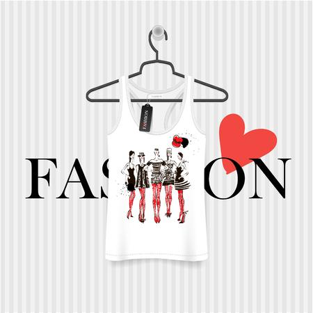 t shirt model: Print for T-shirt. Model Girls hand drawing - fashion illustration Illustration