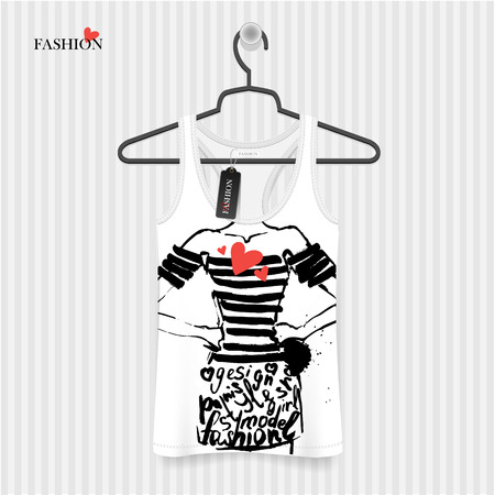 t shirt model: Body fashion girl printing T-Shirt