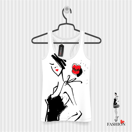 shirt hanger: Print for T-shirt. Model Girls hand drawing - fashion illustration Illustration