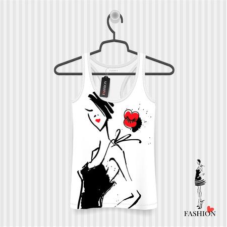 Print for T-shirt. Model Girls hand drawing - fashion illustration Illustration