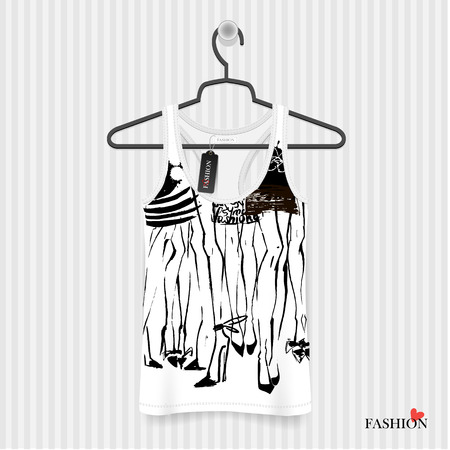 woman white shirt: Print for T-shirt. Legs Girls hand drawing - fashion illustration