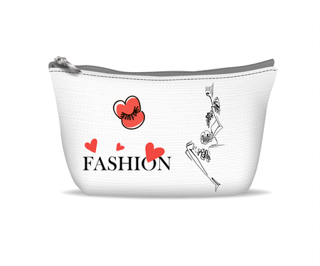 black woman: White textile cosmetic bag with print - Fashion girl in sketch-style.