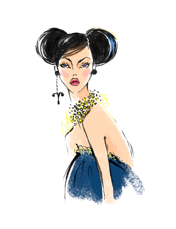 Illustration of Aries astrological sign as a beautiful girl. Fashion illustration Stock Photo