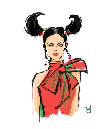 Illustration of Taurus astrological sign as a beautiful girl. Fashion illustration Stock Photo