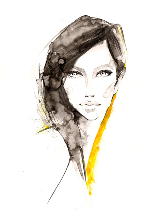 black fashion model: FashionI ink illustration