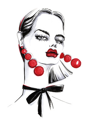 earrings: Fashionable girl with long red earrings. Stock Photo