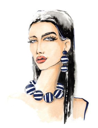 Stilvolles Mädchen mit langen Haaren striped Ohrringe und Perlen. Standard-Bild - 90780117