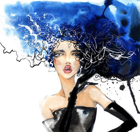 Stylish girl with gloves and disheveled hair, illustration with mascara. Stock Photo