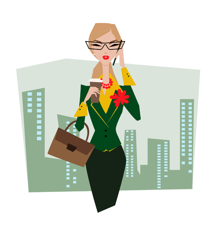 Business lady in glasses with briefcase in the street talking on the phone. Illustration