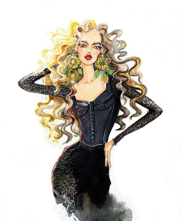 A woman with long hair, a watercolor. Fashion illustration Imagens