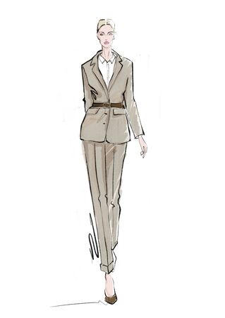 girl goes in a jacket and trousers. Fashion illustration