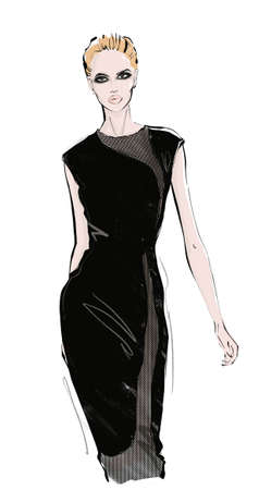 A woman in a black dress is coming. Fashion illustration.