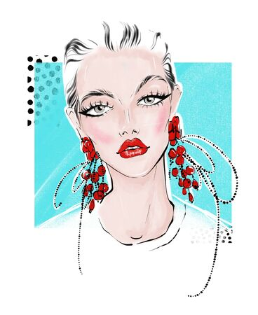 illustration of girl with big red earrings Stok Fotoğraf