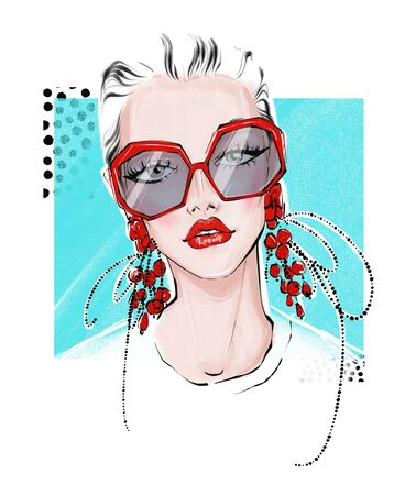 illustration of girl with big red earrings and with glasses