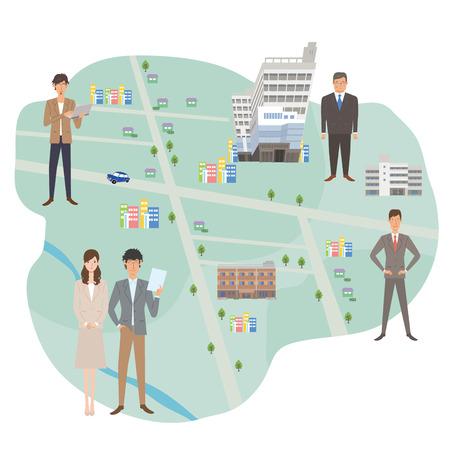 Map businessman company illustrations Illustration