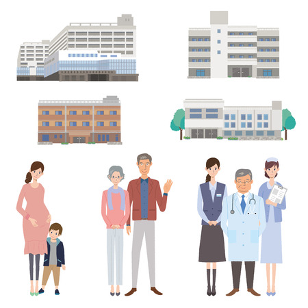 medical team: Medical team and the patient, illustrations Illustration