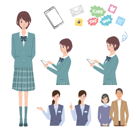 sns: Mobile phone people illustrations