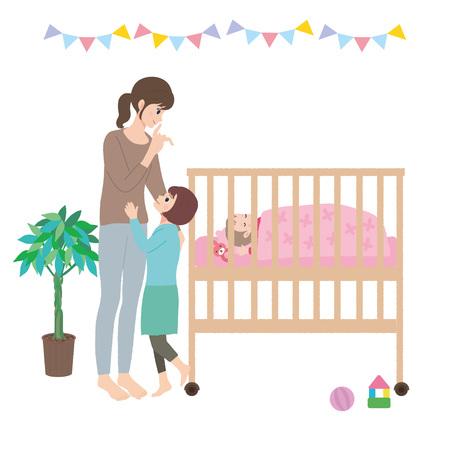 Baby Illustration Crib