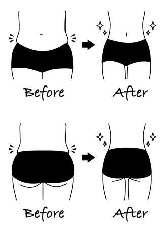 Before after illustration of a diet (Waist and hip) Monochrome line drawing