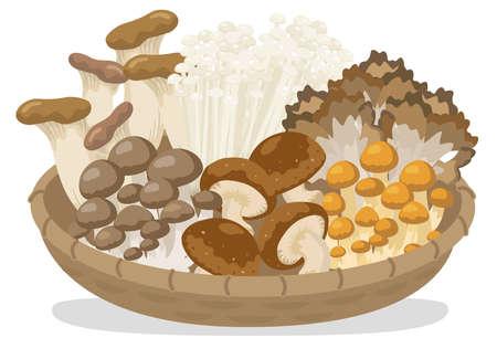 mushrooms heaped on a basket
