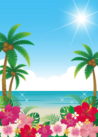 Hibiscus and sea background material (tropical summer image)