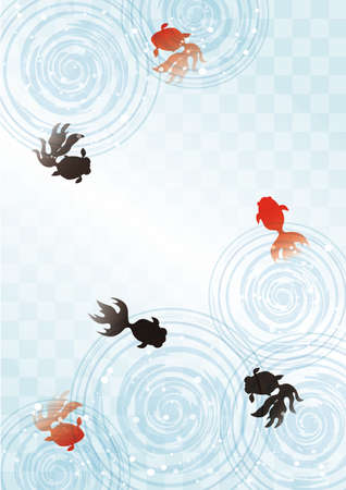 Summer image frame of goldfish and ripples