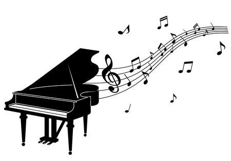 Illustration of a grand piano and musical notes (silhouette) Иллюстрация