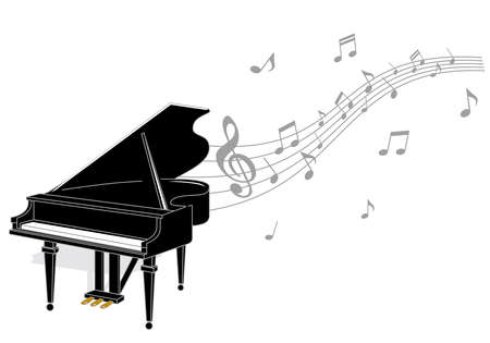 Illustration of a grand piano and musical notes Иллюстрация