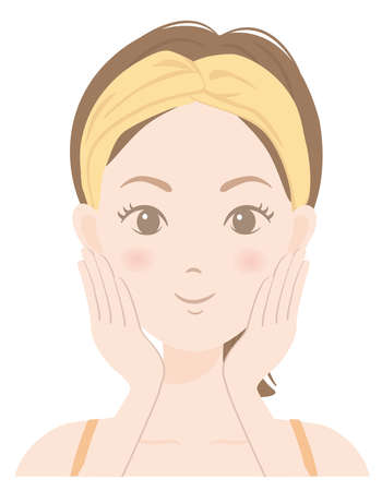 The face of a woman who is caring for her skin Illustration