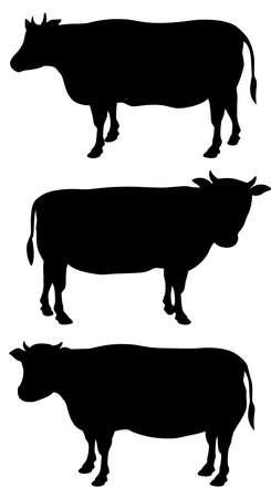 Cow silhouette illustration (illustration set) Illusztráció