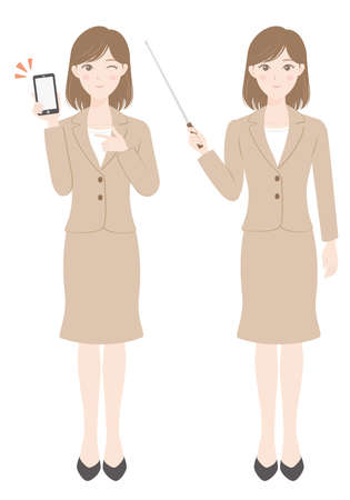 A female office worker in a suit Woman holding a smartphone A woman explaining with a pointer
