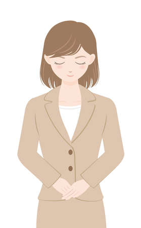 female office worker in a suit Woman bowing