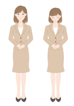 A female office worker in a suit Woman bowing