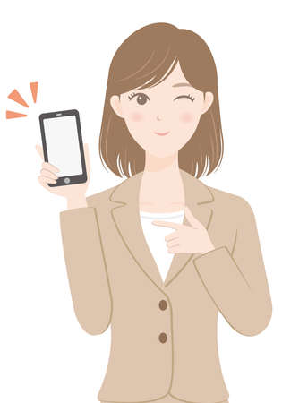 female office worker in a suit Woman holding a smartphone