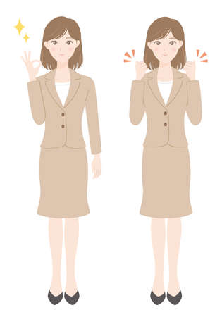 A female office worker in a suit A woman in an OK pose and a woman in a guts pose Illusztráció