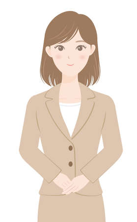 A female office worker in a suit