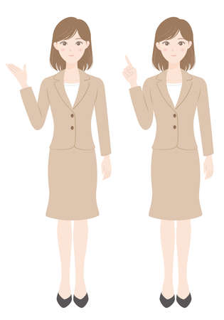 A female office worker in a suit A woman who guides and a woman who points a finger Illusztráció