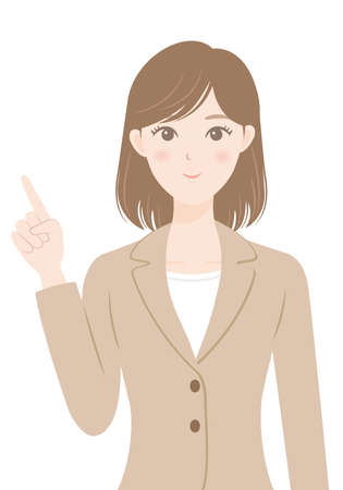 female office worker in a suit Woman pointing a finger