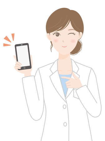 A woman in a white coat (a person with a smartphone) Illusztráció