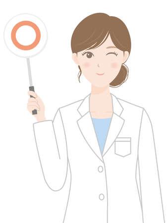 A woman in a white coat (a person with a correct answer tag) Illusztráció