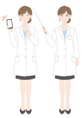A woman in a white coat (a person who has a smartphone) (a person who explains with a pointer) Illusztráció
