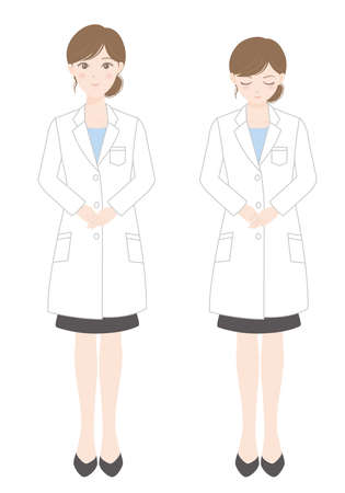 Woman in a lab coat (standing) (bowing person)