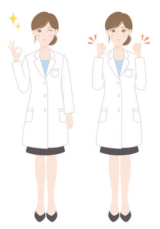 Woman in a white coat (OK pose) (Guts pose)