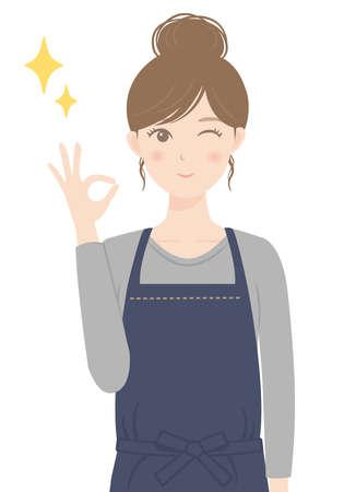 A woman in an apron doing an OK pose Illusztráció