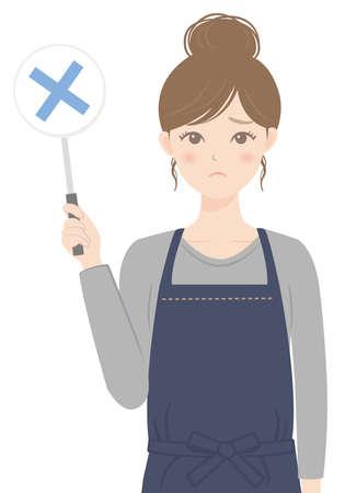 A woman in an apron holding a round tag Illusztráció