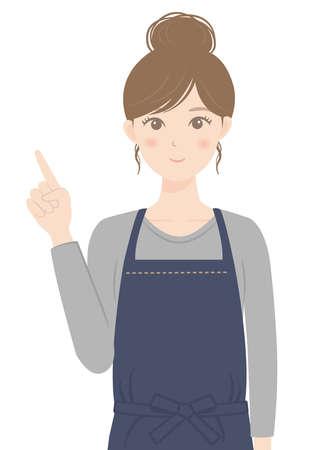 A woman in an apron pointing her finger Illusztráció